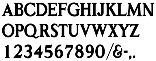 Image of our complete alphabet in Classic Roman font for cast metal dimensional Letters