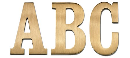 Image of our Craw Clarendon Condensed font Cast Metal Letter