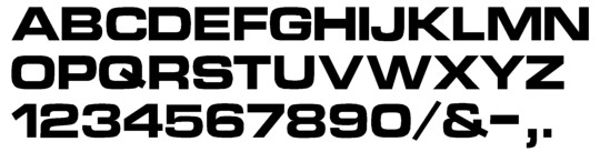 Image of our complete alphabet in Eurostyle Bold Extended font for cast metal dimensional Letters
