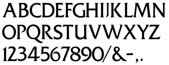 Image of our complete alphabet in Friz Quadrata font for cast metal dimensional Letters