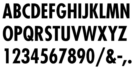Image of our complete alphabet in Futura Condensed font for cast metal dimensional Letters