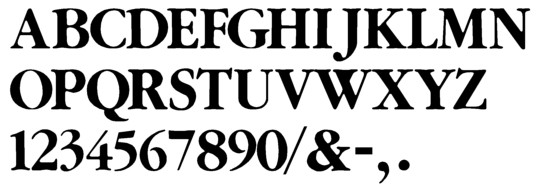Image of our complete alphabet in Garamond Bold font for cast metal dimensional Letters