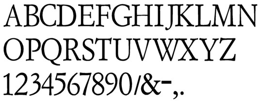 Image of our complete alphabet in Garamond Regular font for cast metal dimensional Letters