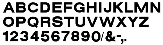 Image of our complete alphabet in Helvetica Bold Extended font for cast metal dimensional Letters