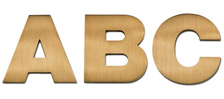 Image of our Helvetica Bold font Cast Metal Letter