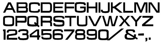 Image of our complete alphabet in Microgramma Extended font for cast metal dimensional Letters