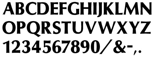 Image of our complete alphabet in Optima Semibold font for cast metal dimensional Letters