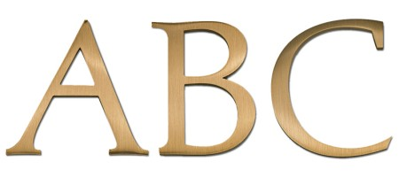 Image of our Palatino font Cast Metal Letter