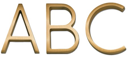 Image of Gemini cast metal letter in RIBBON DEEP font style.