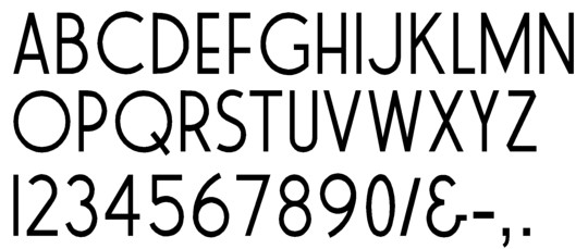 Image of our complete alphabet in Roffe font for cast metal dimensional Letters