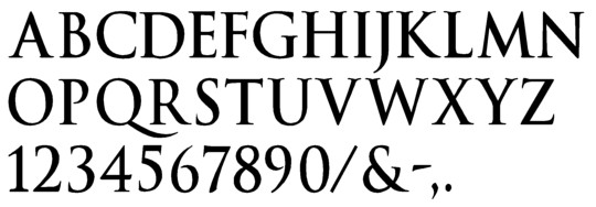 Image of our complete alphabet in Trajan Bold font for cast metal dimensional Letters