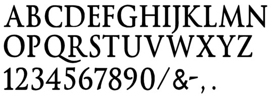Image of our complete alphabet in Trajan Bold Prismatic font for cast metal dimensional Letters