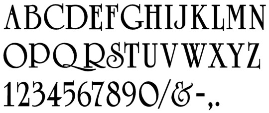 Image of our complete alphabet in University Roman Bold font for cast metal dimensional Letters
