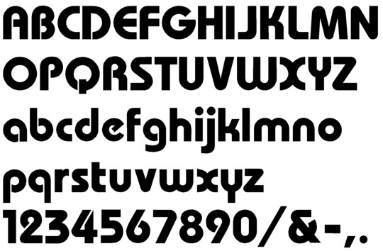 Image of our Bauhaus font Formed Plastic Letter