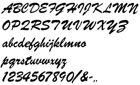 Image of our Brush Script font Formed Plastic Letter