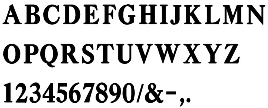 Image of our complete alphabet in Caslon Adbold font Plastic Formed dimensional Letters