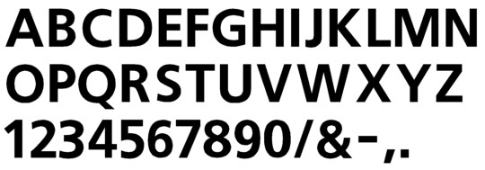 Image of our Frutiger 65 font Formed Plastic Letter