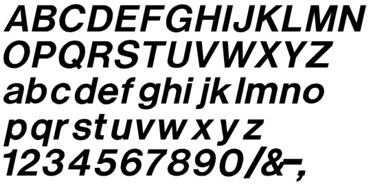 Image of our complete alphabet in Helvetica Medium Italic font Plastic Formed dimensional Letters