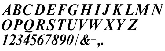 Image of our Times Bold Italic font Formed Plastic Letter