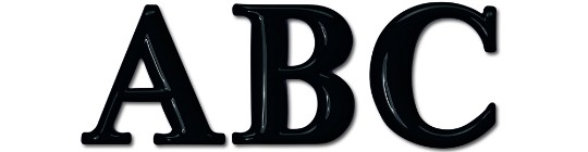 Image of our Times Bold Round font Formed Plastic Letter