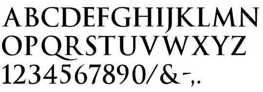 Image of our complete alphabet in Trajan Bold font Plastic Formed dimensional Letters